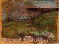 Olive Trees against a Mountainous Background, c.1893, degas