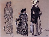 Project for Portraits in a Frieze - Three Women, 1879, degas