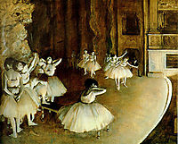 Repeating a ballet on the stage, 1874, degas