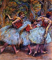 Three Dancers, Blue Skirts, Red Blouses, c.1903, degas