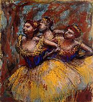 Three Dancers. Yellow Skirts, Blue Blouses, c.1896, degas