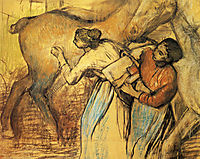 Two Laundresses and a Horse, 1902, degas