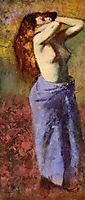 Woman in a Blue Dressing Gown, Torso Exposed, c.1890, degas