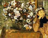 A Woman Seated beside a Vase of Flowers, 1865, degas