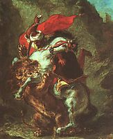 Arab Horseman Attacked by Lion, 1850, delacroix