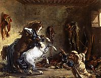 Arab Horses Fighting in a Stable, 1860, delacroix