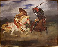 Confrontation of knights in the countryside, 1834, delacroix