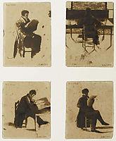 Four Views of men sitting, 1838, delacroix