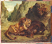Lion and boar, 1853, delacroix