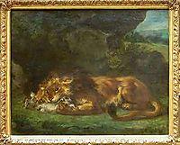 Lion Devouring a Rabbit, 1856, delacroix