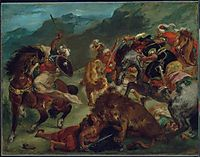 Lion Hunt, 1858, delacroix