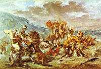 Lion Hunt, c.1860, delacroix