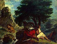 Lion Hunt in Morocco, 1854, delacroix
