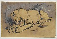 Lioness devouring a Rabbit , delacroix