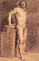 Male Academy Figure, probably Polonais, standing, 1821, delacroix