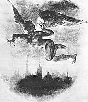 Mephistopheles Over Wittenberg (From Goethe-s Faust), 1839, delacroix