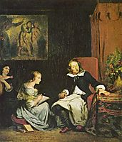Milton dictated to his daughters the (Paradise Lost), delacroix
