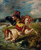 Moroccan Horseman Crossing a Ford, 1850, delacroix