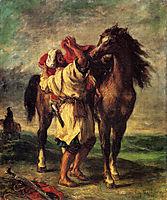 A Moroccan Saddling A Horse, 1855, delacroix