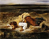 A Mortally Wounded Brigand Quenches his Thirst, 1825, delacroix