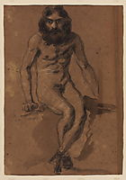 Nude bearded man, seated, delacroix