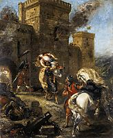 Rebecca Kidnapped by the Templar, Sir Brian de Bois-Guilbert, 1858, delacroix