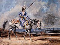 A Turkish Man on a Grey Horse, delacroix