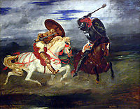 Two Knights Fighting in a Landscape, c.1824, delacroix