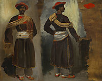Two Views of a Standing Indian from Calcutta, 1824, delacroix