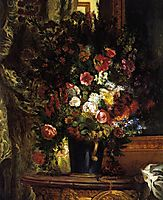 A Vase of Flowers on a Console, 1848-1850, delacroix