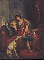 Woman from Algiers with Windhund, 1854, delacroix