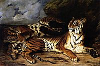 A Young Tiger Playing with its Mother, 1830, delacroix