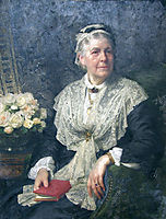 Portrait of a lady in a lace edged dress, 1915, dicksee