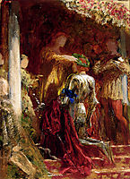 Victory, A Knight Being Crowned With A Laurel-Wreath, dicksee