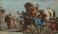 Building of the Troyan Horse, 1760, domenicotiepolo