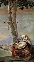 Landscape with sitting farmer, 1757, domenicotiepolo