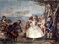 Minuet with Pantaloon and Colombine, from the Room of Carnival Scenes in the Foresteria, 1757, domenicotiepolo