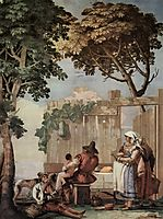 Peasant Family at Table, from the Room of Rustic Scenes, in the Foresteria (Guesthouse), 1757, domenicotiepolo