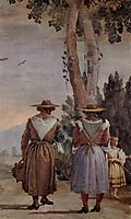 Two Peasant Women and a Child Seen from Behind, from the -Foresteria- (Guesthouse), 1757, domenicotiepolo