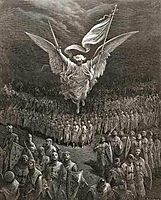 An angel leading the Crusaders to Jerusalem, dore