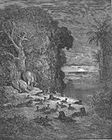 And now on earth the seventh Evening arose in Eden, dore