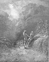So parted they  the Angel up to heaven From the thick shade, and Adam to his bower, dore