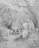 To whom the winged Hierarch replied  O Adam, one Almighty is, from whom All things proceed, dore