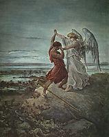 The wrestle of Jacob, 1855, dore