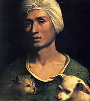 Portrait of a young man with a dog and a cat, dossi