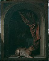 A cat at the window of a painters- studios, 1657, dou