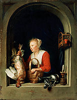 The Dutch Housewife or, The Woman Hanging a Cockerel in the Window, 1650, dou