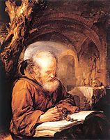 A Hermit Praying, 1670, dou