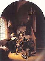 Interior with a Young Violinist , 1637, dou