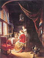 The Lady at Her Dressing Table, 1667, dou